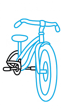 215x382 How To Draw A Bicycle For Kids, Vehicles, Easy Step