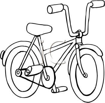 350x343 Kids Bicycle Clipart Black And White