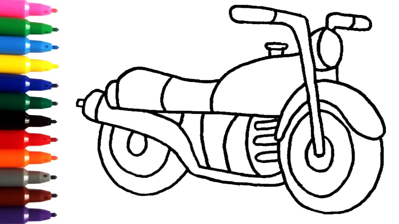 1280x720 Motor Bike Drawing For Kids