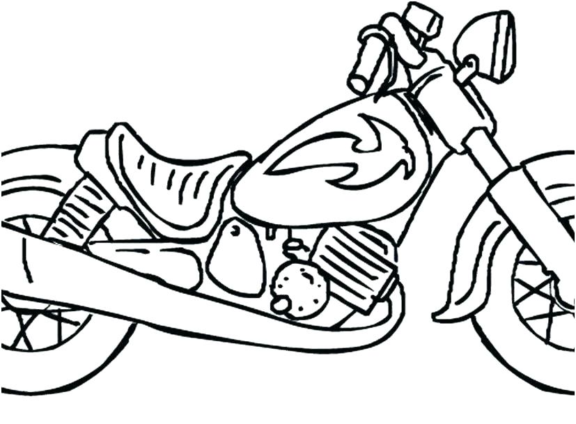 827x609 Motorcycle Coloring Pages Easy Simple Drawing At Free For Personal