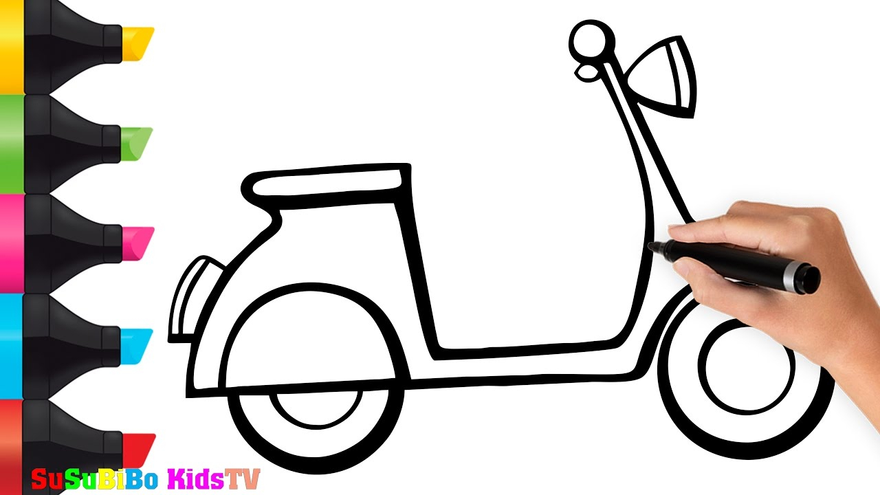 1280x720 Inspiring Bike Drawing For Kids Gallery
