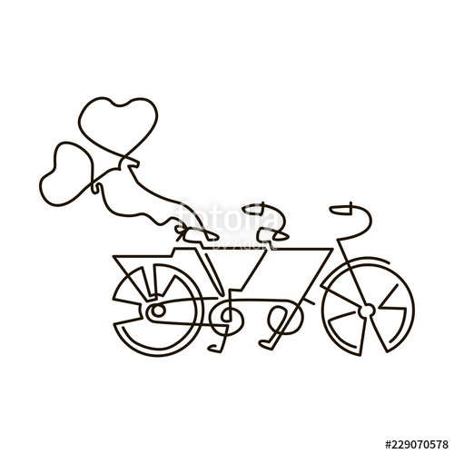 500x500 Vector Line Icon Tandem Bike Wedding One Line Drawing Isolated