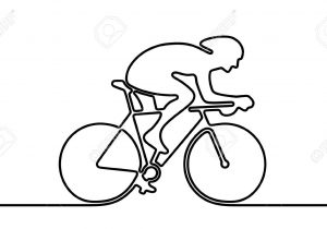 300x210 Bicycle And Rider Abstract Line Drawing Boy Riding Bike