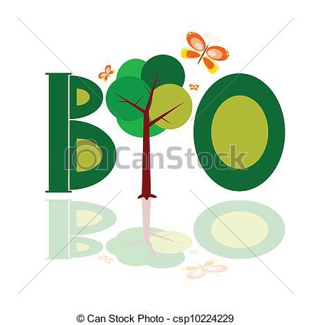 450x470 bio word icon with tree illustration vector vector illustration