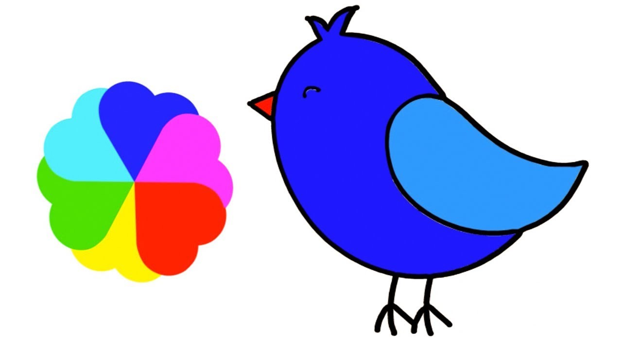 1280x720 Cute Bird Drawing For Kids Easy Coloring Step