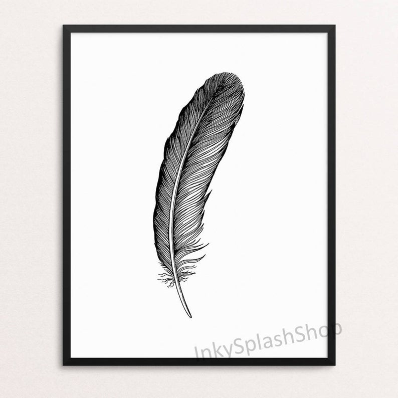 794x794 Feather Art Print Ink Drawing Black And White Boho Wall Decor Etsy