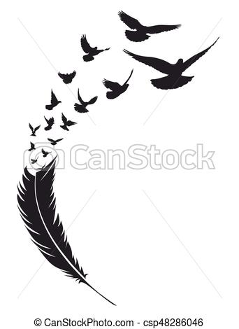 342x470 Flying Bird With Feather Flight Flock Of Birds From Bird Feather