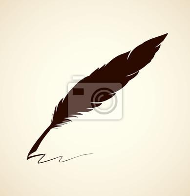 389x400 Vector Drawing Dark Bird Feather Manifesti Da Muro Poster Segno