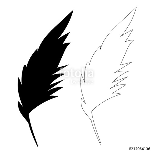 500x500 Isolated Silhouette Of Bird Feather, Outline Stock Image