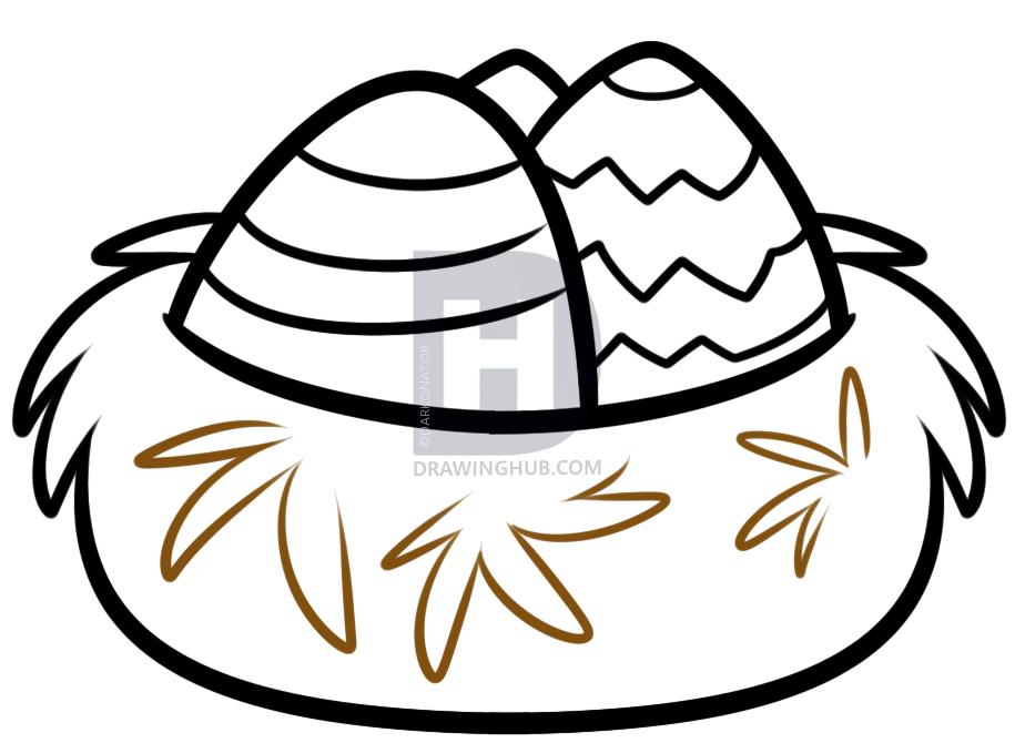 924x679 How To Draw A Bird Nest, Step