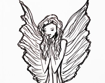 340x270 angel ink drawing art print birthday gift gift idea gift etsy