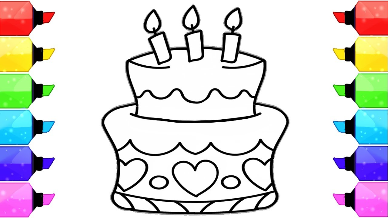 1280x720 How To Draw Birthday Cake Coloring Pages For Kids Learn Drawing