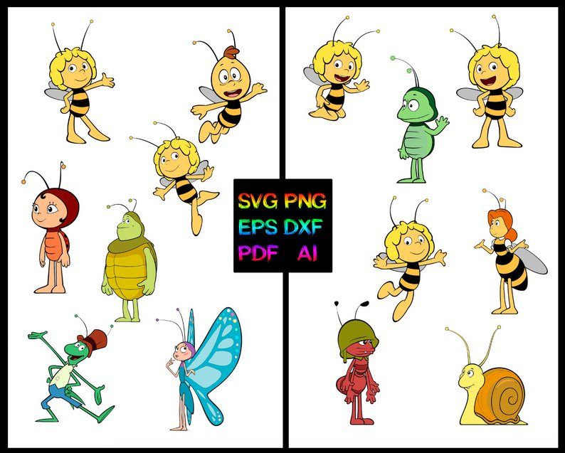 794x637 Maya The Bee Vector Png Dxf Pdf Kids Etsy