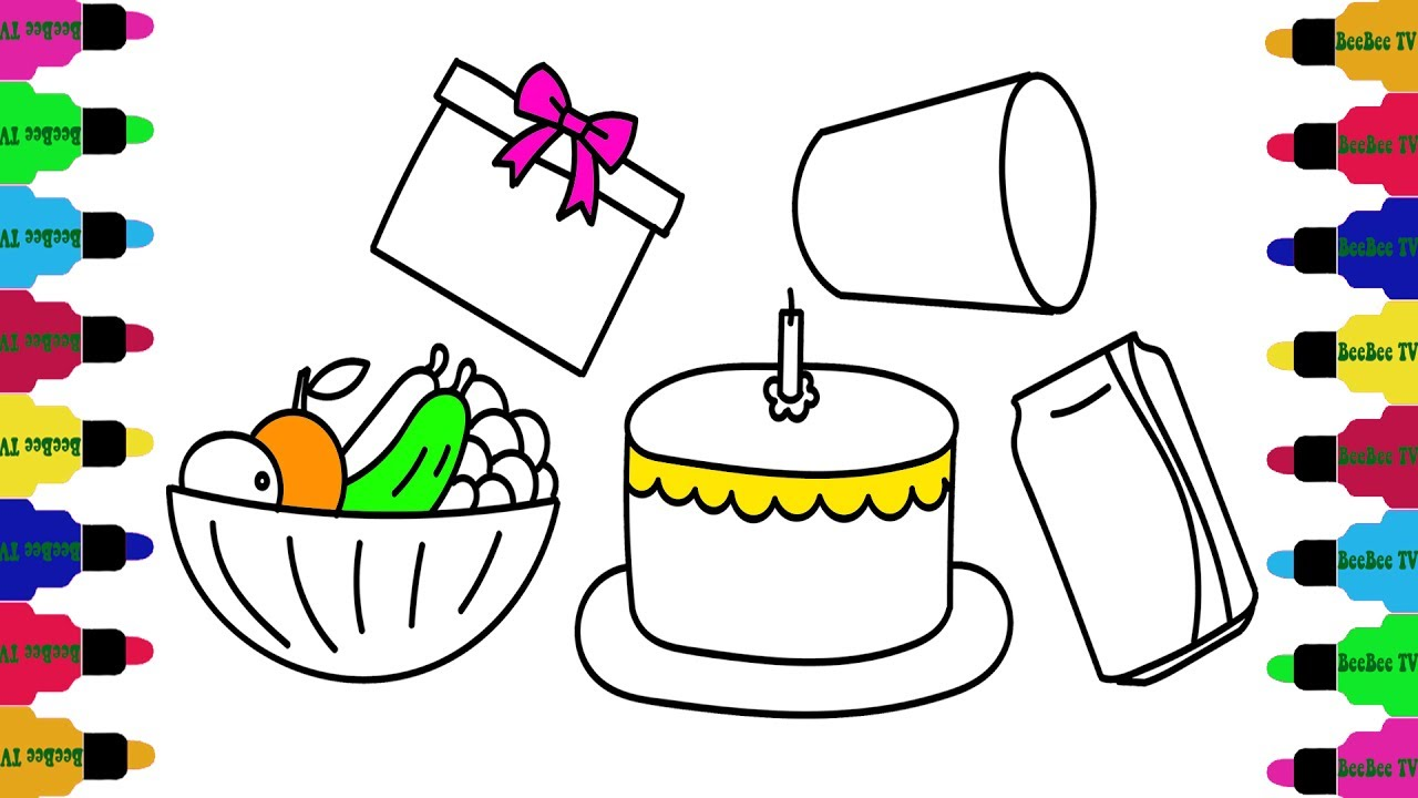 1280x720 How To Draw Set Of A Birthday Party, Cake Soccer Balls Rainbow