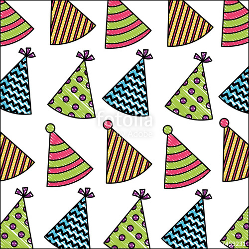500x500 Birthday Party Hats Ornament Decoration Pattern Drawing Stock