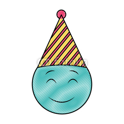 400x400 Emoji Smiley Eyes Closed Birthday Party Hat Drawing Design Buy