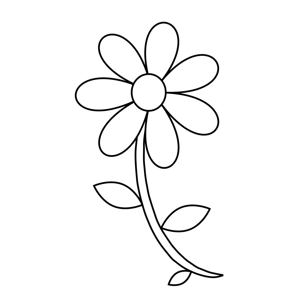 1024x1024 Drawing Of A Daisy Flower Sketch Library Throughout Outline