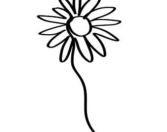 340x270 Line Drawing Daisy Etsy