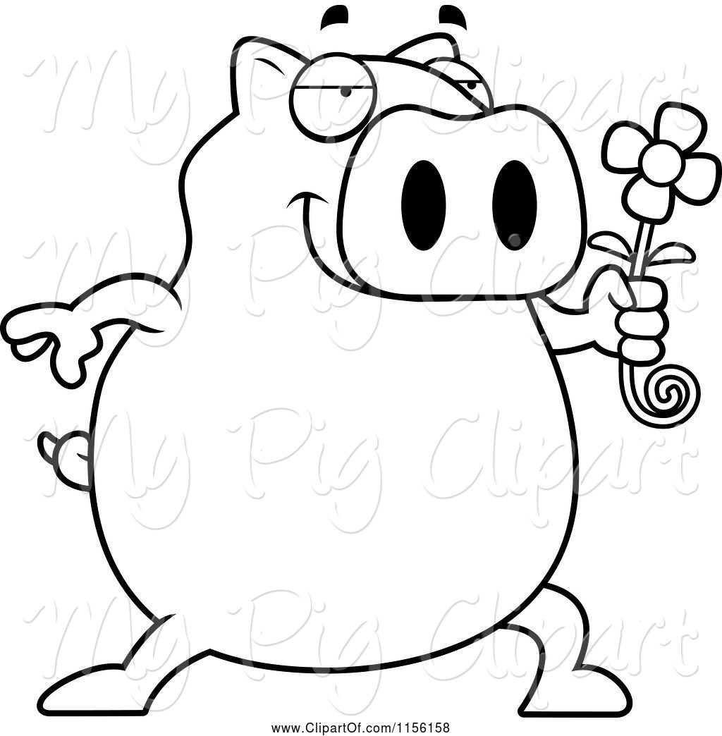 1024x1044 Swine Clipart Of Cartoon Black And White Pig Holding A Daisy