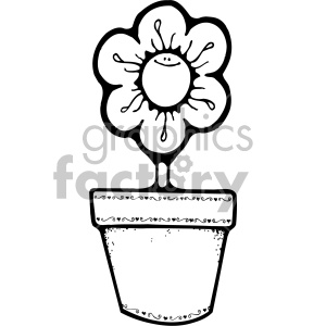 300x300 Black And White Daisy Flower Pot Clipart Royalty Free Clipart