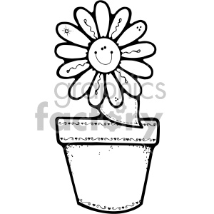 300x300 Black And White Flower Pot Daisy Clipart Royalty Free Clipart