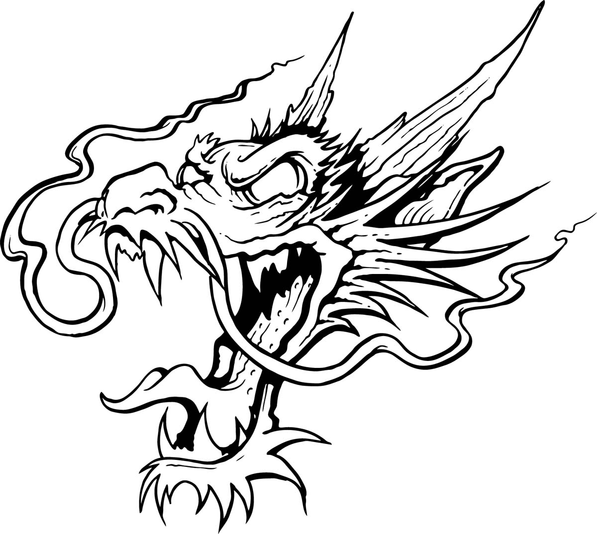 Black And White Dragon Drawings | Free download best Black