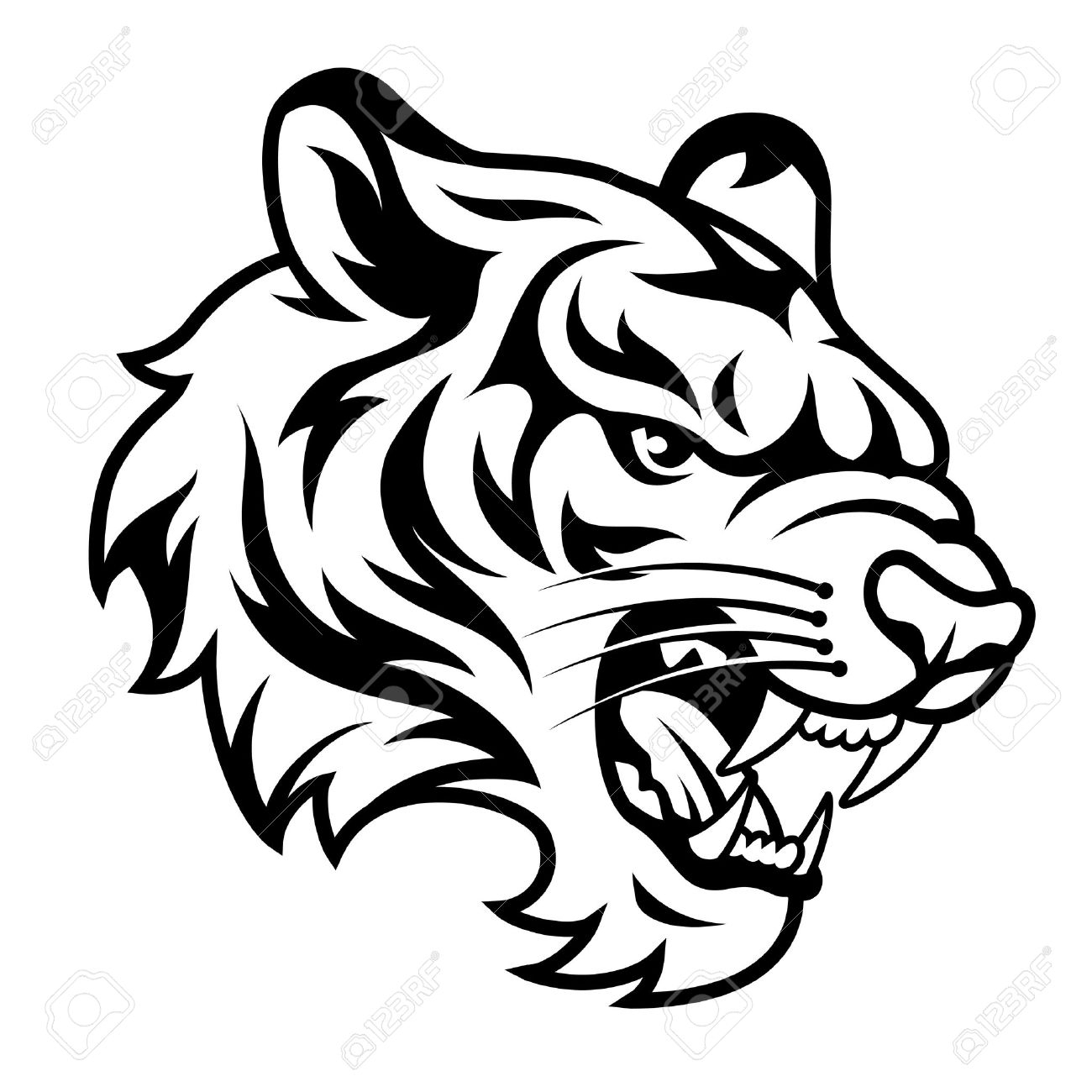1300x1300 Tiger Face Drawing Sketch Images Black White Coloring
