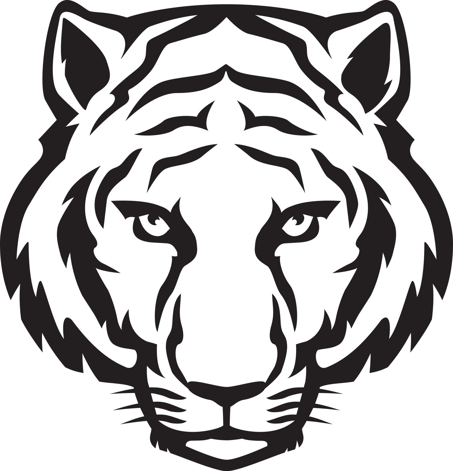 1510x1571 Tiger Head Outline Tiger Eyes Black And White