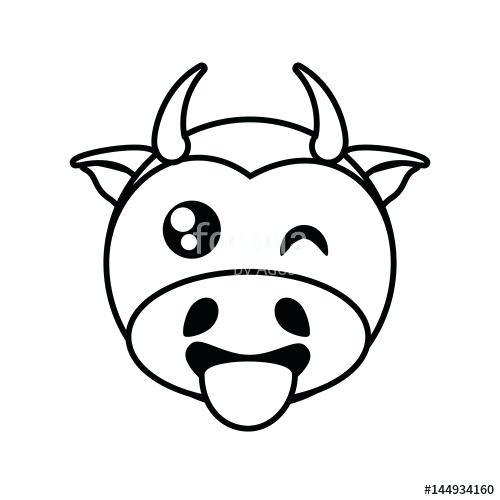 500x500 Cow Face Drawing