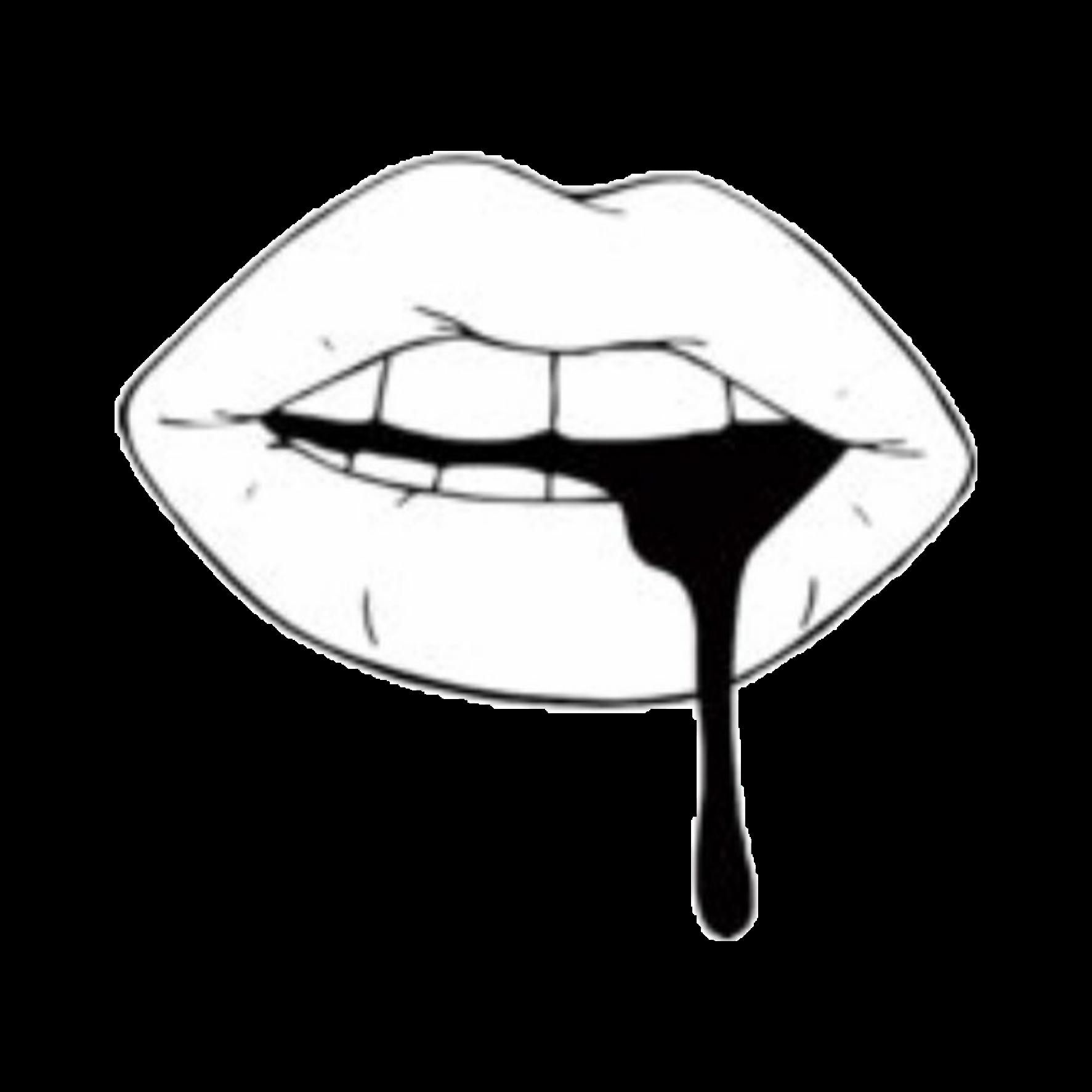 1773x1773 Lip Black Tint Aesthetic Black Tumblr Png Sticker White