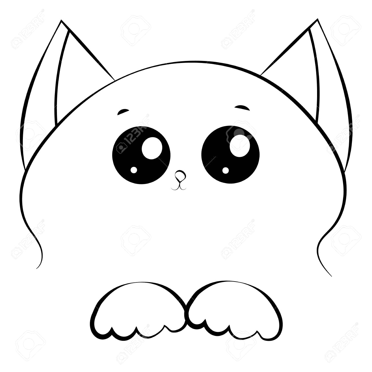 1300x1300 Vector Black And White Outline Drawing Cute Cat Face