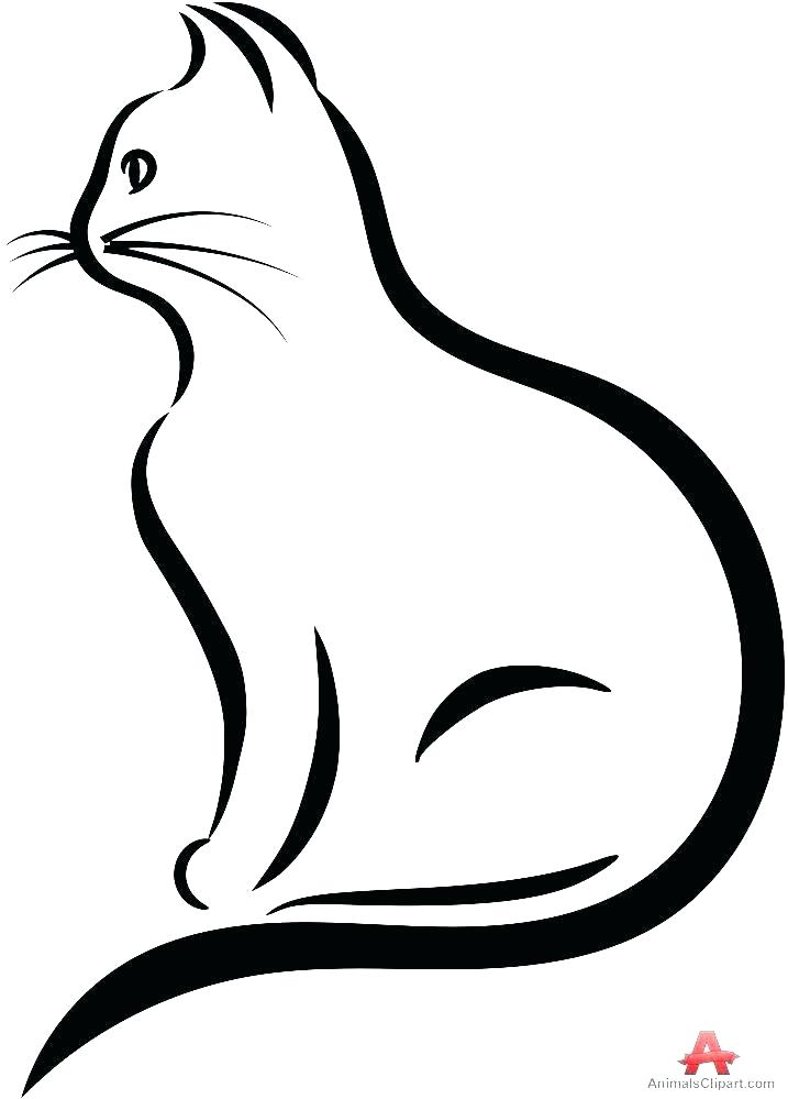717x999 Adorable Incredible E Of Cat Face Outline Line Drawing At Free