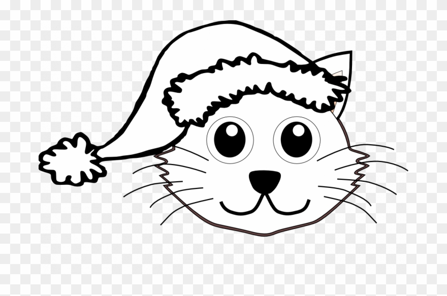 880x583 Christmas Cat Coloring Pages Santa Face Clip Art Black