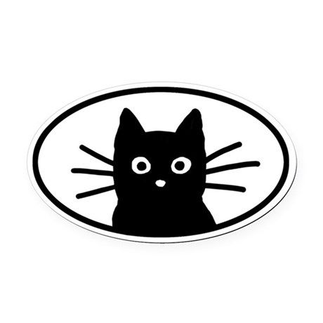 460x460 Black Cat Face Oval Car Magnet Delilah Big Mama Cats, Cat