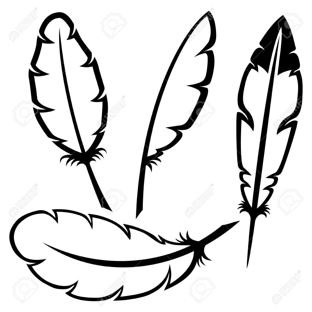 1300x1300 Black Outline Pigeon Feathers Tattoo Stencil Feather Tattoo