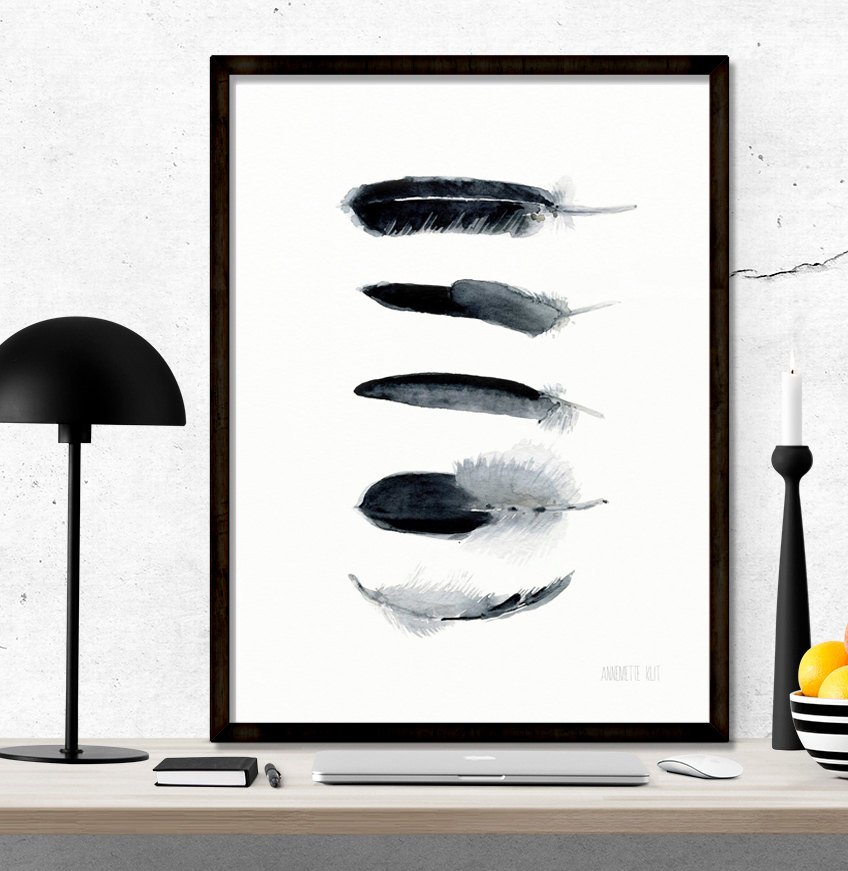 848x871 Black And White Feather Art Work Minimalist Art Print From Etsy