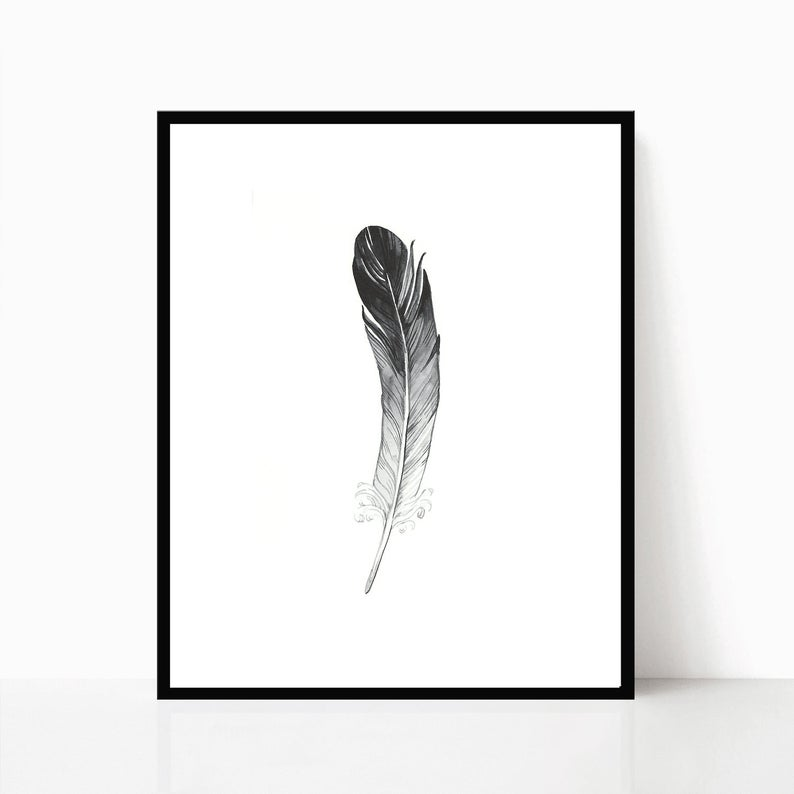 794x794 Feather Print Feather Watercolor Black And White Drawing Etsy