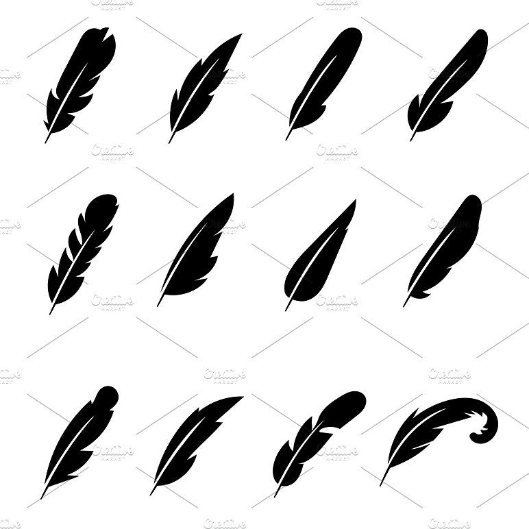 772x772 Feather Black Vector Icons