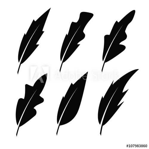 500x500 feather black vector icons pen feather drawing, feather bird