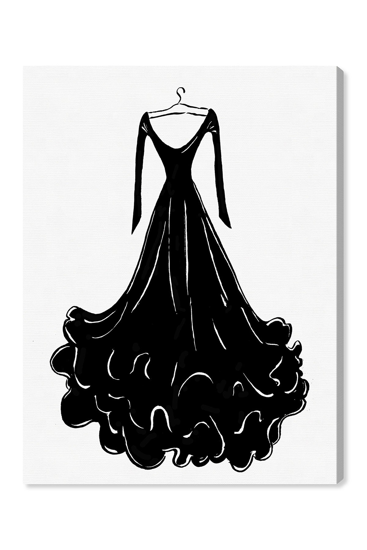 1200x1800 Oliver Gal Gallery Black Feather Dress Canvas Print