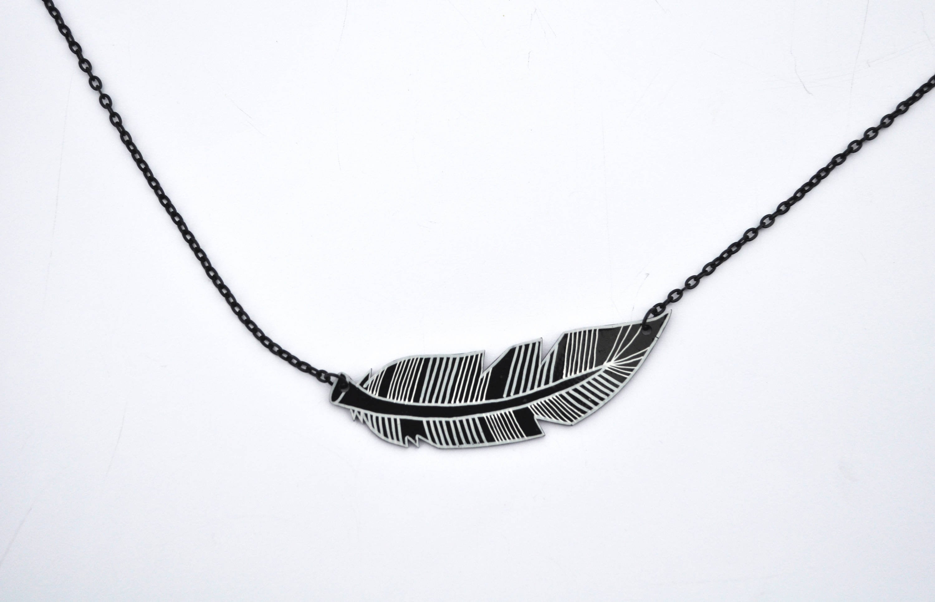 3000x1933 Black Feather Necklace Contemporary Jewelry Feather Etsy