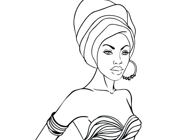 570x456 African Woman Drawing African Woman Line Drawing