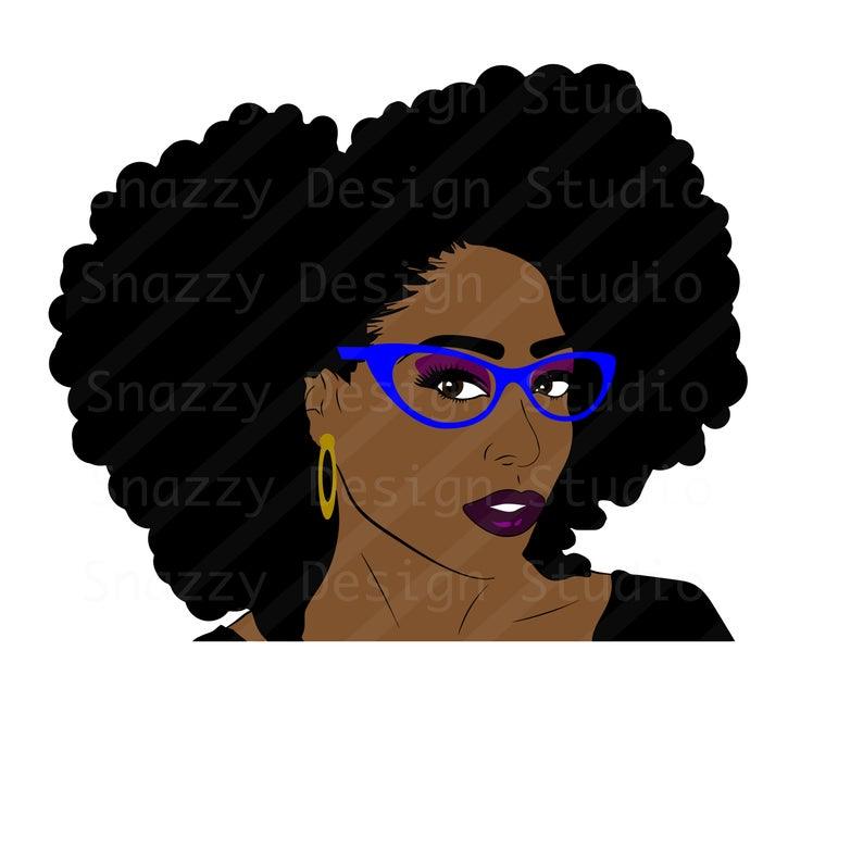 794x794 Afro Hair Lady Natural Hair With Or Wout Glasses Etsy