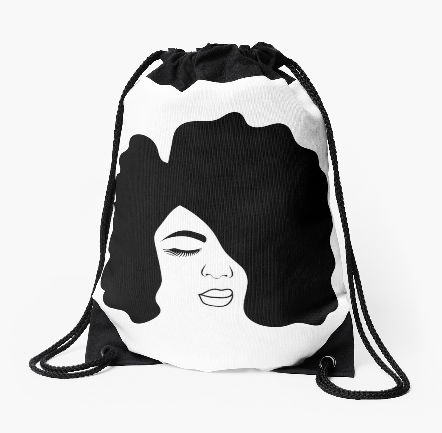 1435x1404 Big Afro Drawing Black Woman With Natural Hair Drawstring Bag