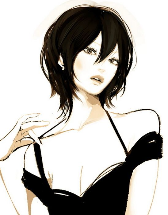 548x700 Pretty Anime Girl With Short Black Hair Animation Drawing