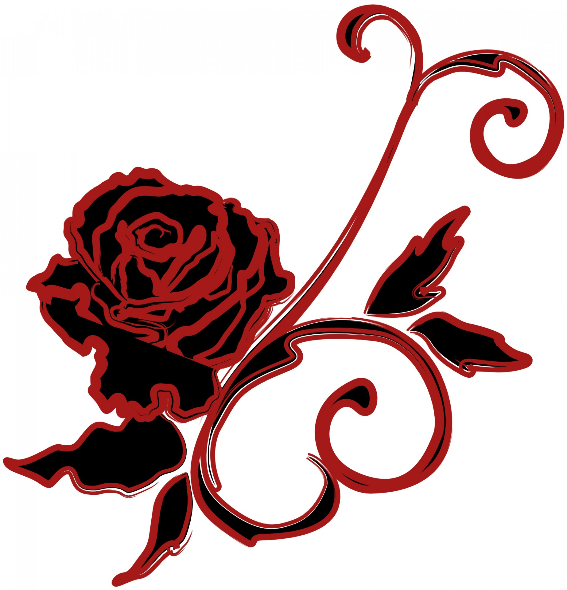 1847x1920 Rose, Drawing, Black, Red, Isolated