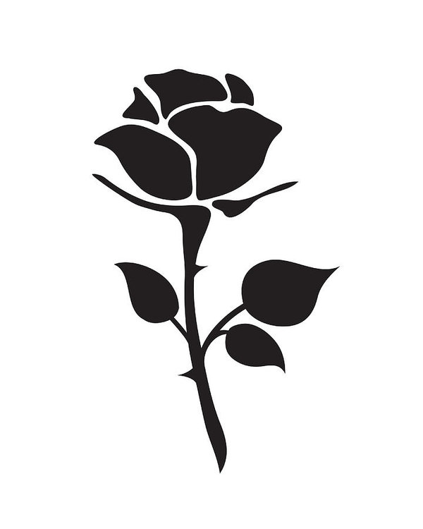 600x750 Simple Flat Black Rose Vector Hand Drawn Romance Flower Icon