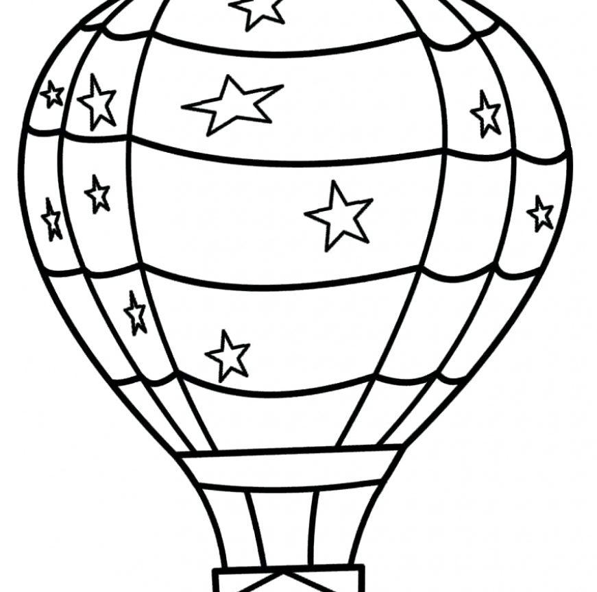 871x864 Hot Air Balloon Coloring Sheet