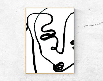 340x270 Blind Contour Line Drawing Face Digital Download Print