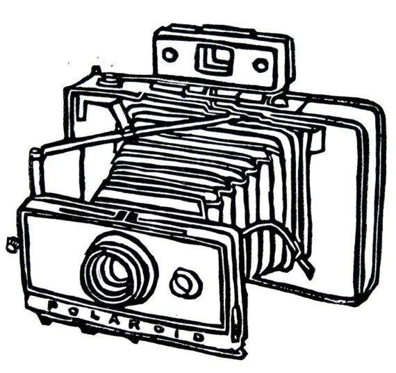 570x537 vintage polaroid camera linoleum block print